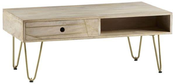 Brecon Light Mango Wood Rectangular Coffee Table | Rectangular coffee table with drawer, shelf and metal hairpin legs.